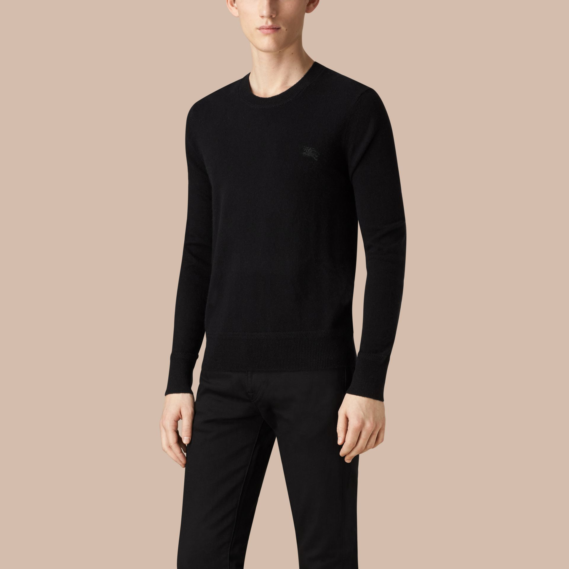 Crew Neck Cashmere Sweater in Black - gallery image 3