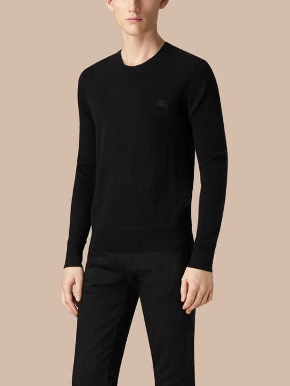 Black Crew Neck Cashmere Sweater Black - cell image 2