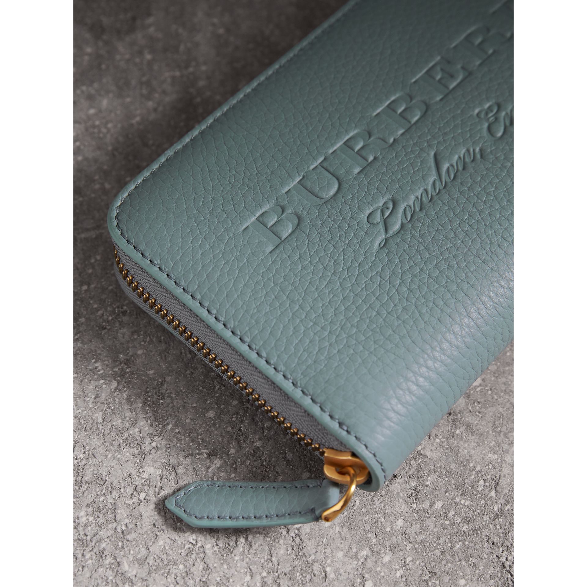 Embossed Leather Ziparound Wallet in Dusty Teal Blue - Women | Burberry - gallery image 1