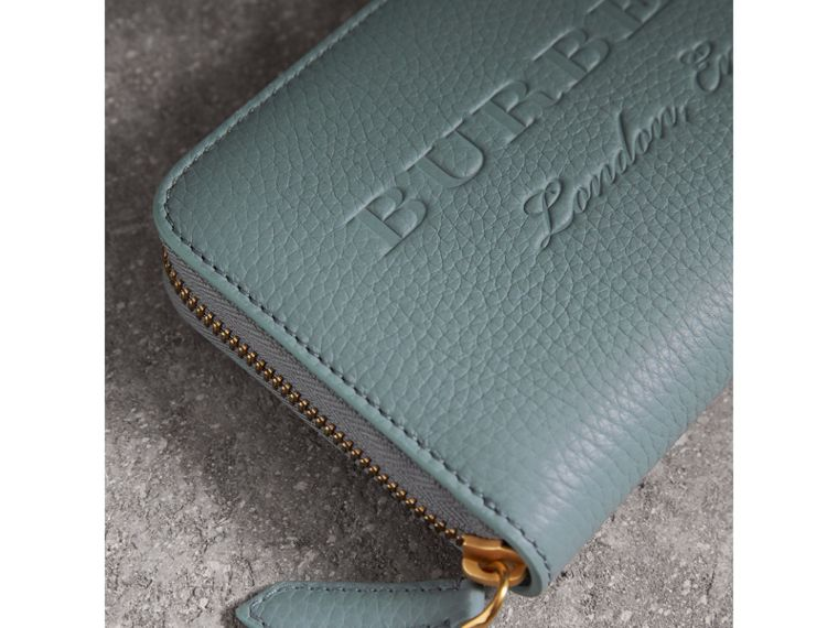 Embossed Leather Ziparound Wallet in Dusty Teal Blue | Burberry - cell image 1