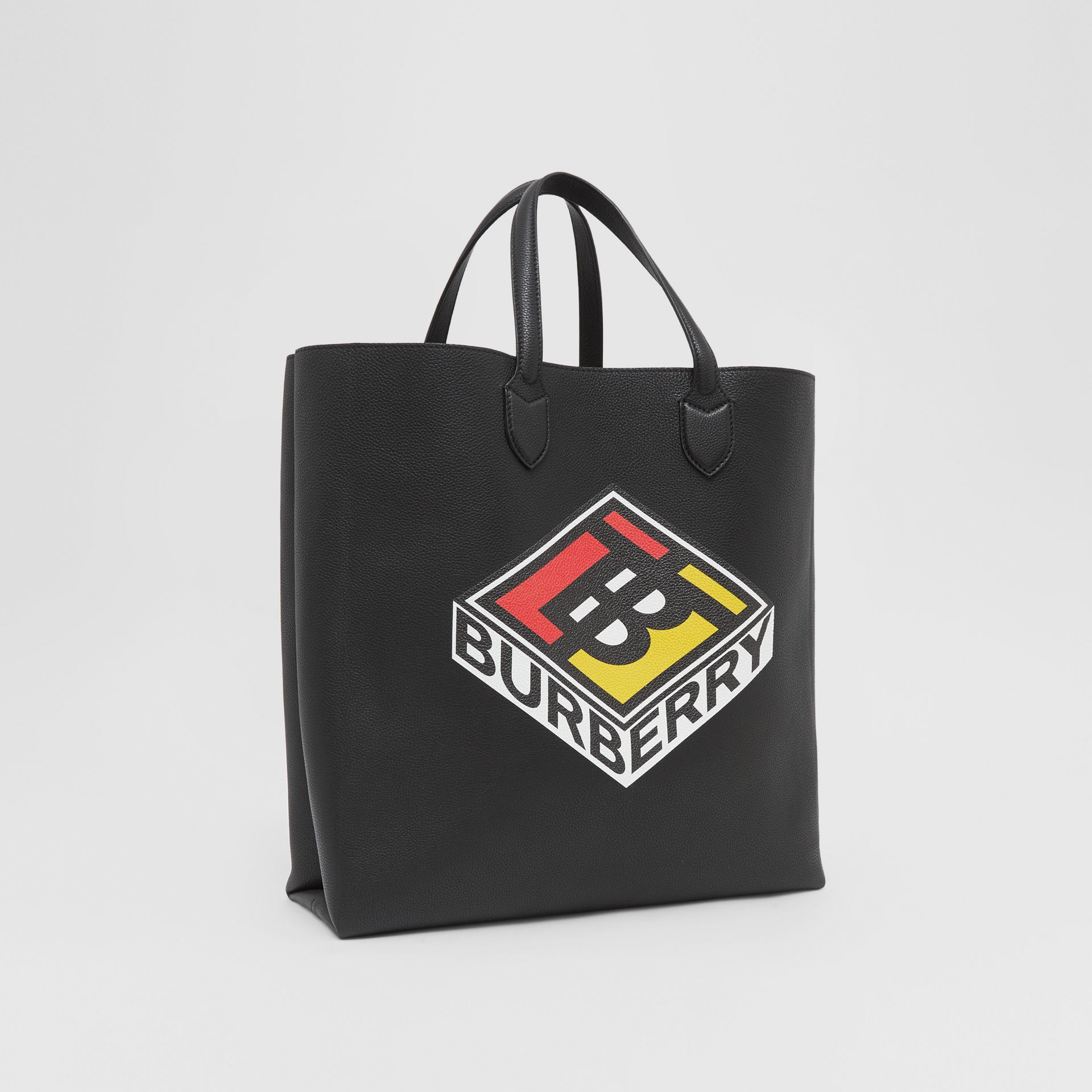 Large Logo Graphic Grainy Leather Tote in Black - Men | Burberry United States - gallery image 8