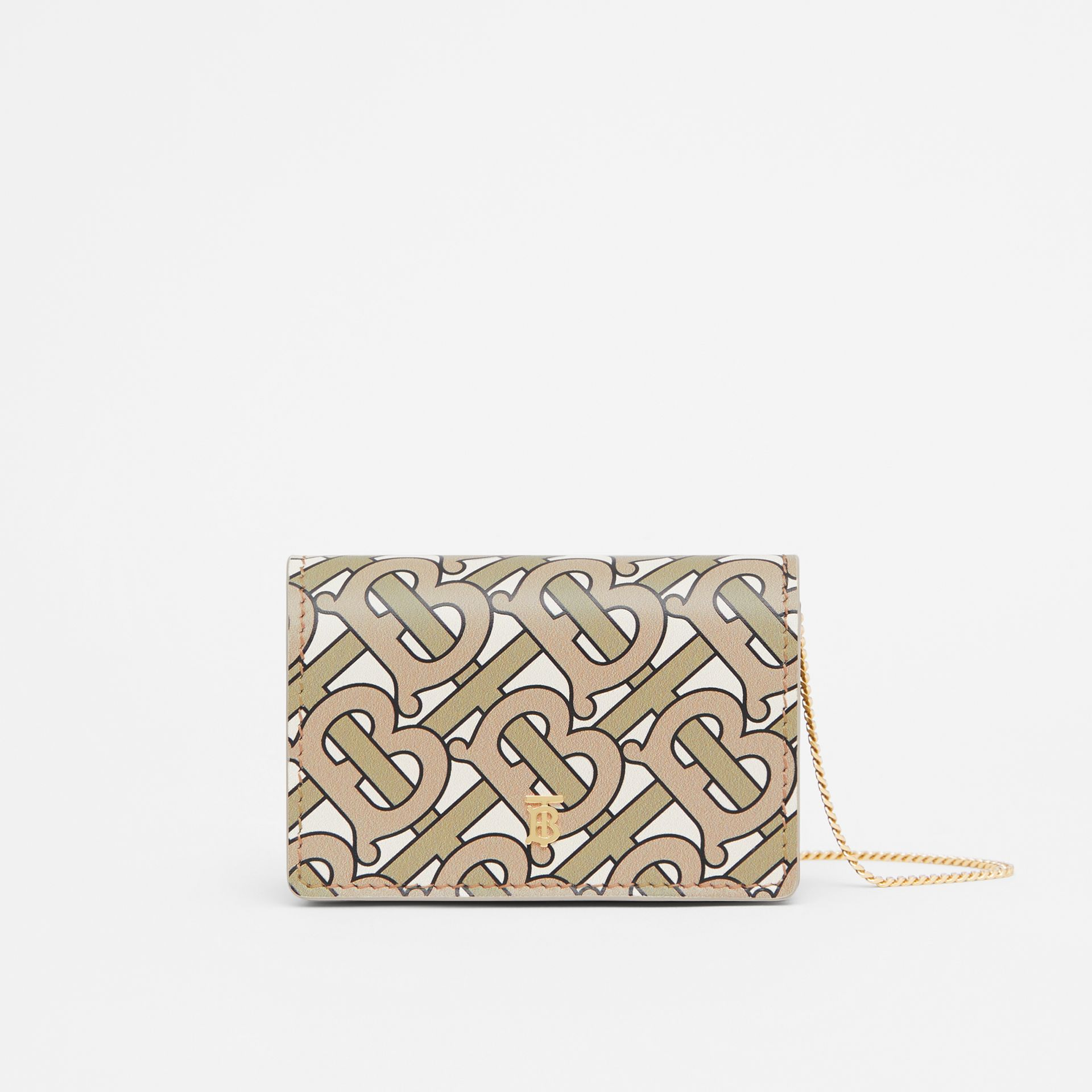 Monogram Print Card Case with Detachable Strap in Beige - Women | Burberry - gallery image 0