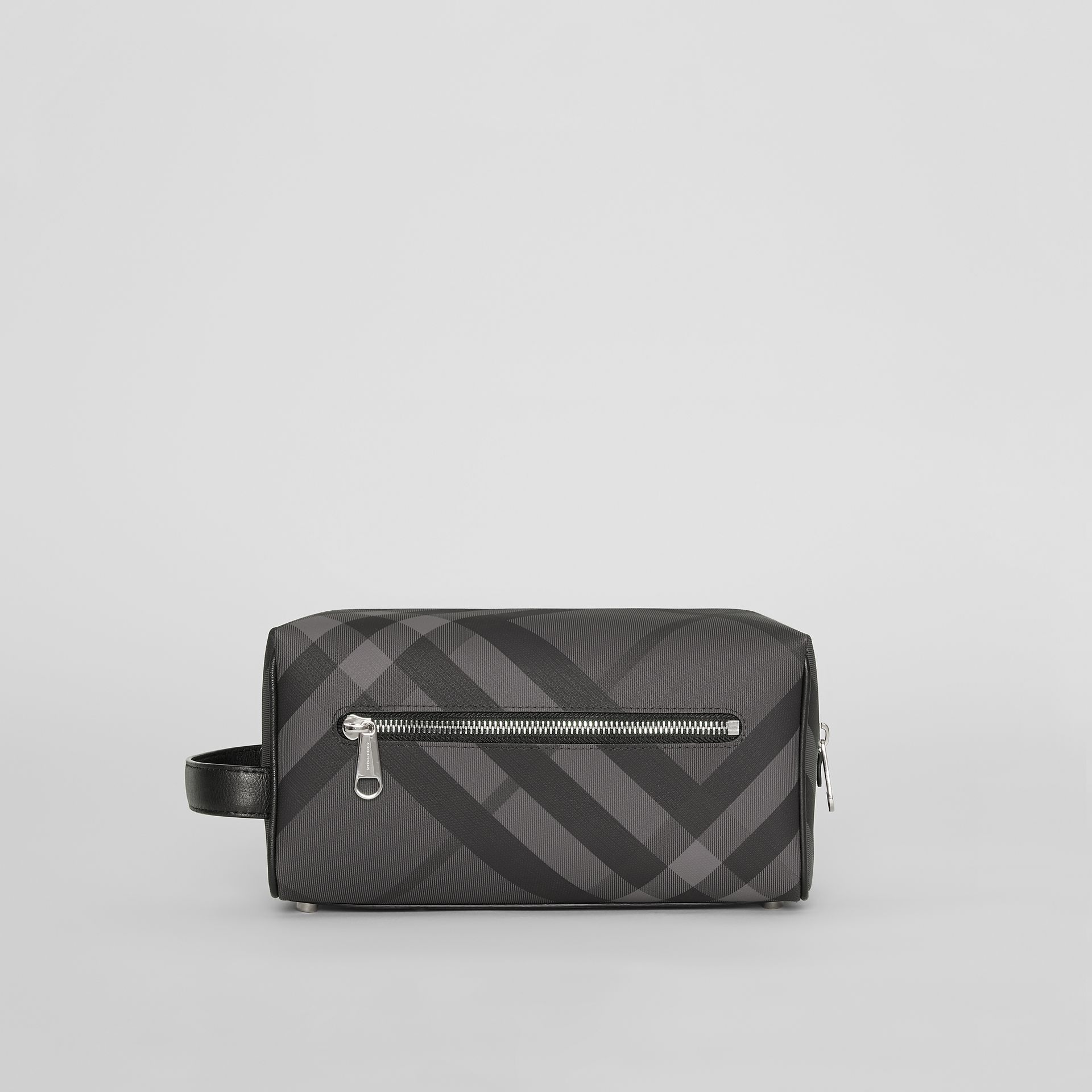 London Check and Leather Pouch in Charcoal/black - Men | Burberry Australia - gallery image 7