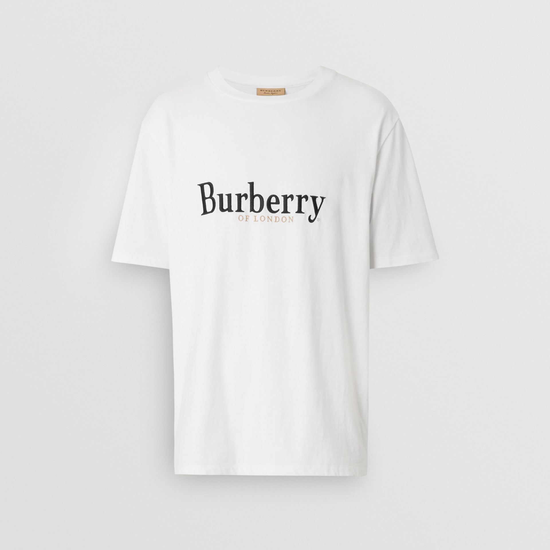 Embroidered Archive Logo Cotton T-shirt in White - Men | Burberry Australia - gallery image 3