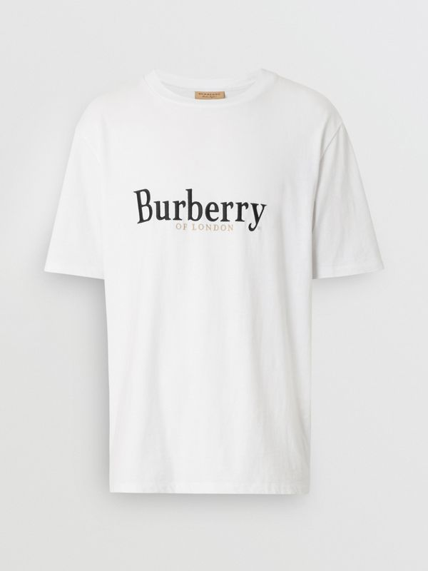 Embroidered Archive Logo Cotton T-shirt in White - Men | Burberry United Kingdom - cell image 3