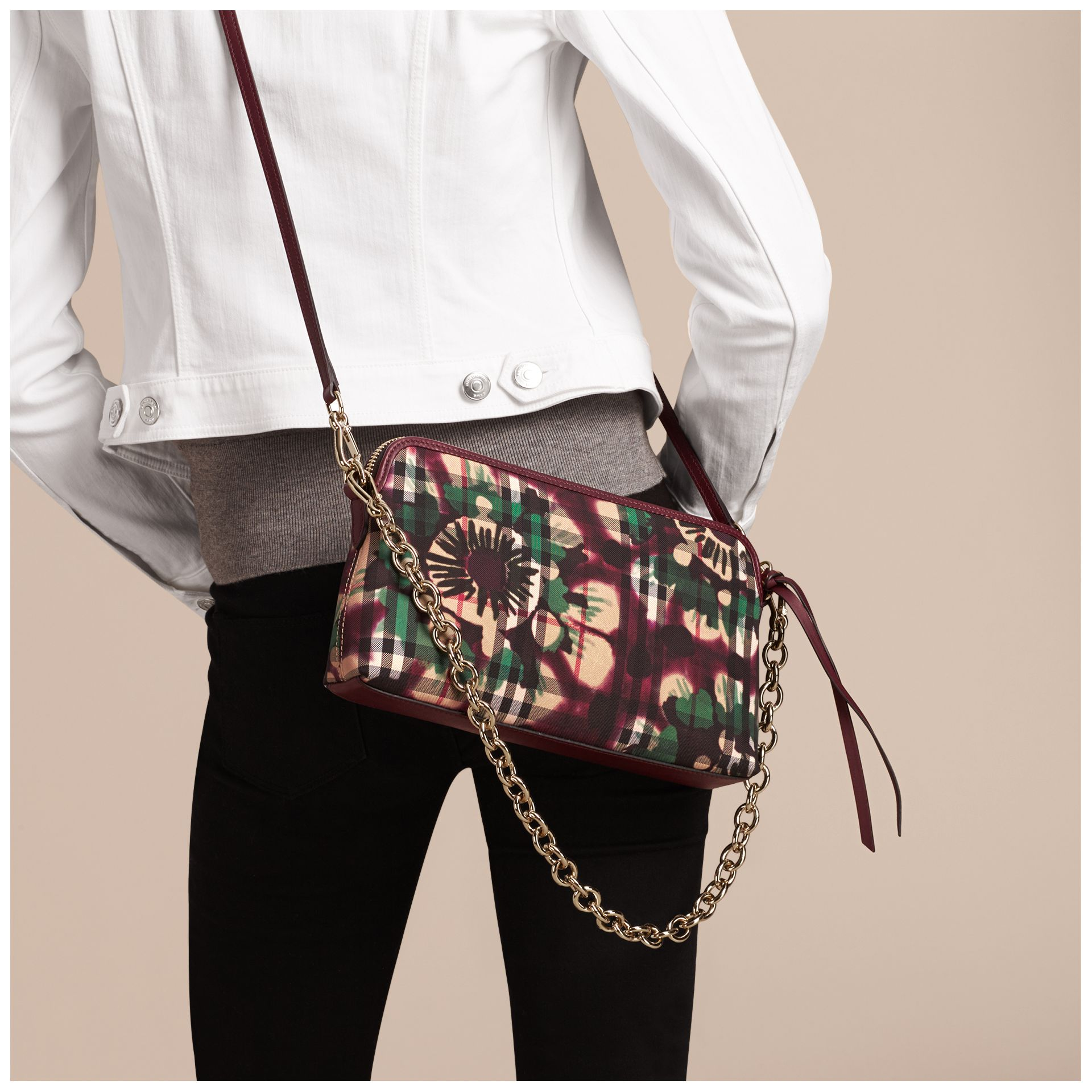 Deep claret Tie-dye Print Horseferry Check and Leather Clutch Bag Deep Claret - gallery image 3