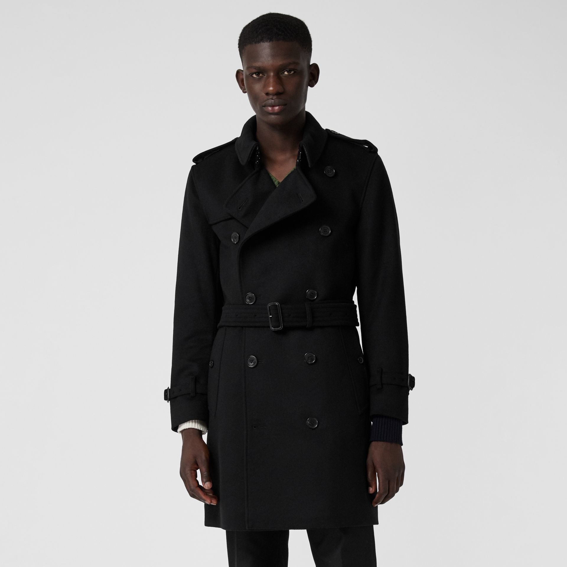 Wool Cashmere Trench Coat in Black - Men | Burberry United States - gallery image 5