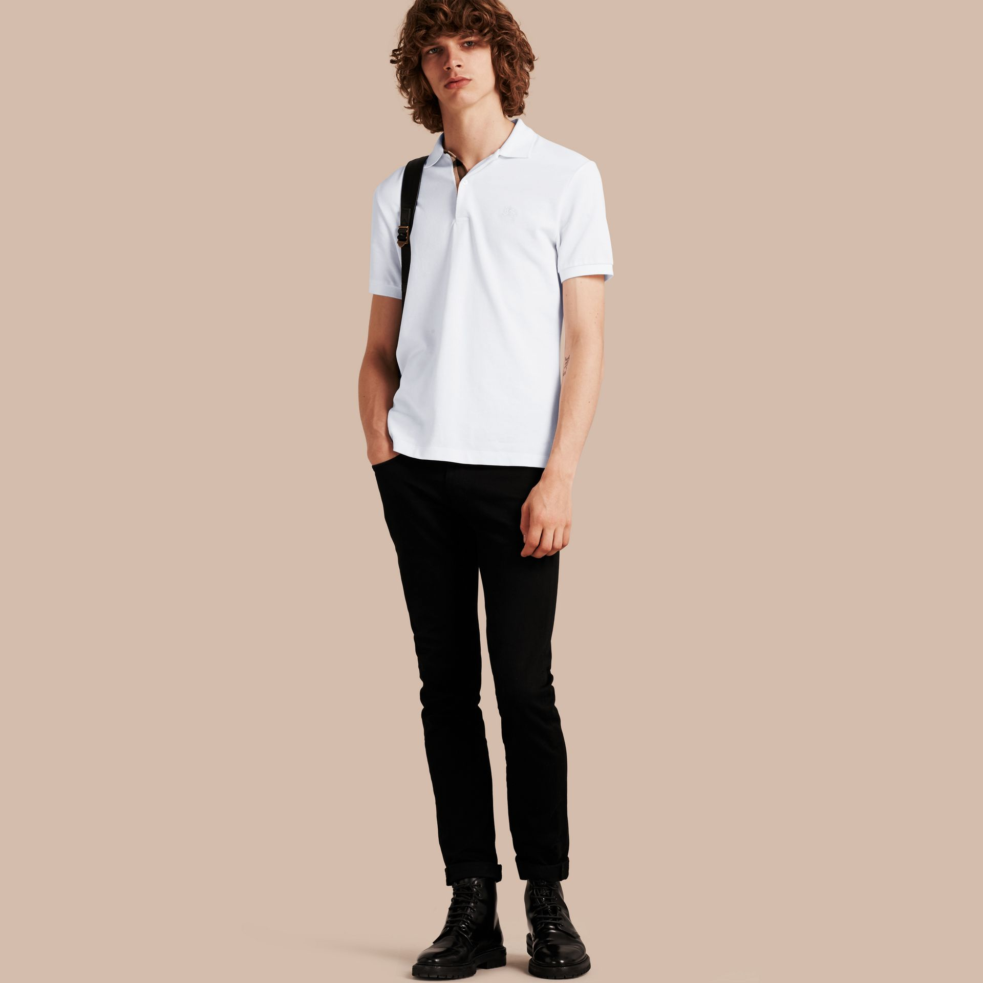 Check Placket Cotton Piqué Polo Shirt White - gallery image 1