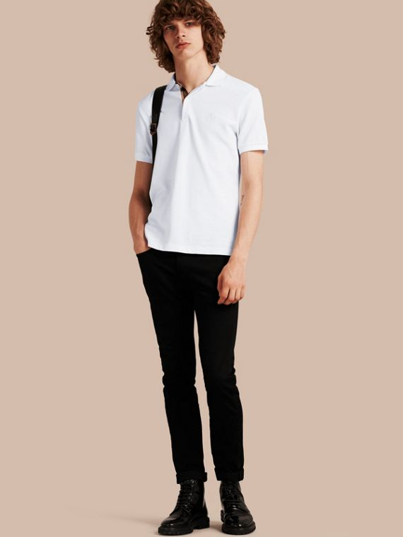 Check Placket Cotton Piqué Polo Shirt White