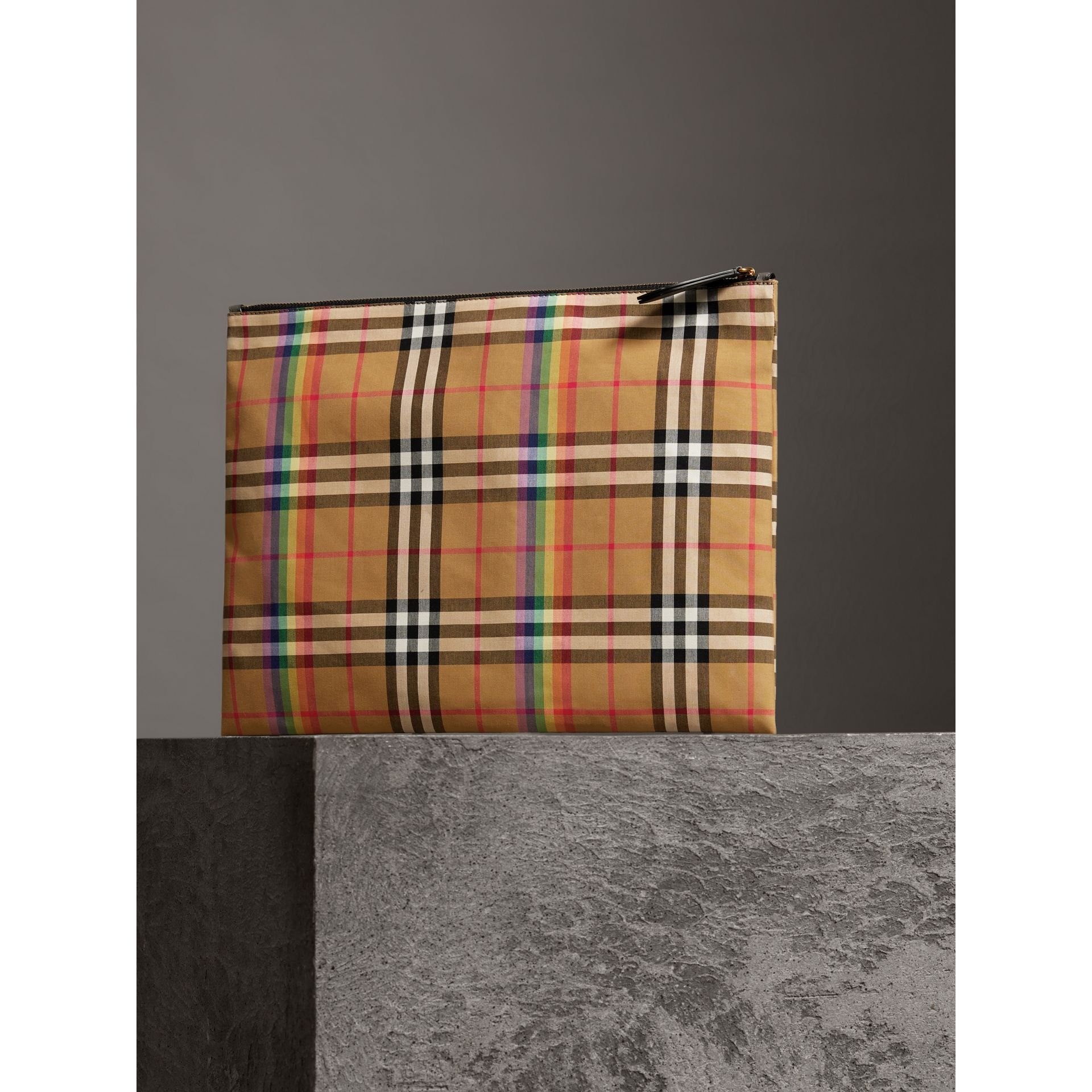 Large Rainbow Vintage Check Pouch in Dark Grey | Burberry - gallery image 6