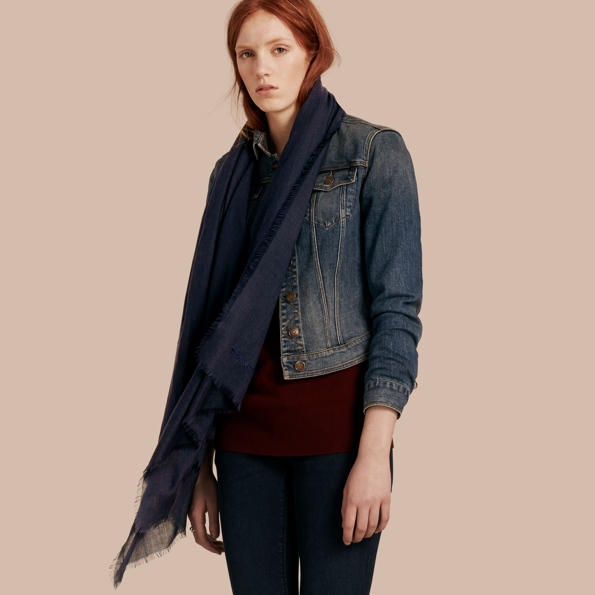 The Lightweight Cashmere Scarf in Navy - gallery image 3