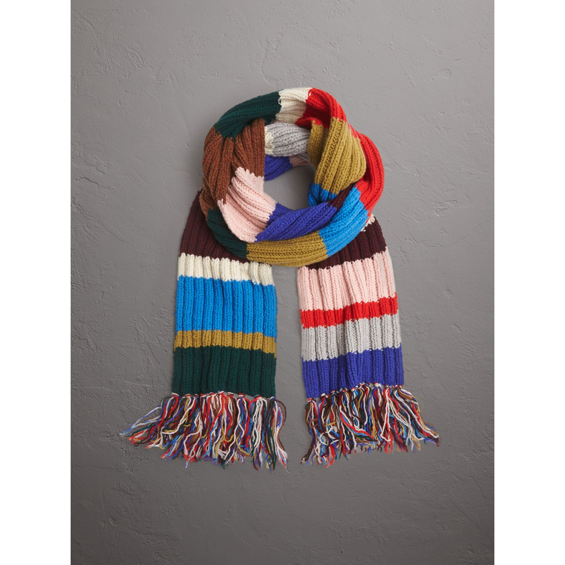 Long Striped Rib Knit Wool Scarf in Multicolour | Burberry Canada - gallery image 4