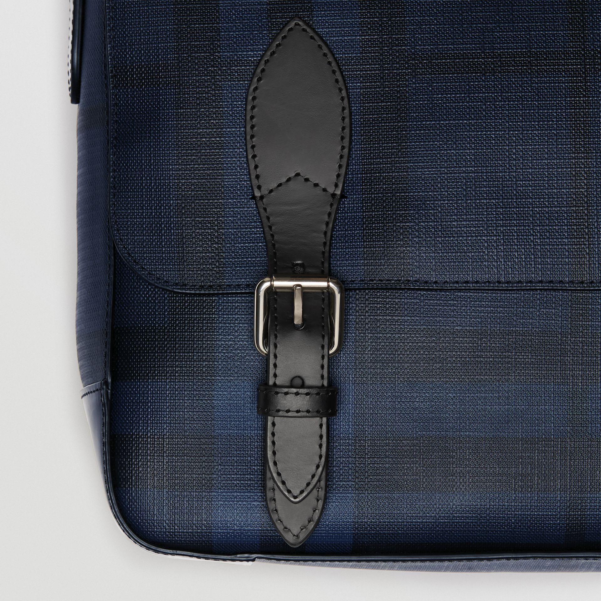 Medium Leather Trim London Check Messenger Bag in Navy/black - Men | Burberry - gallery image 1