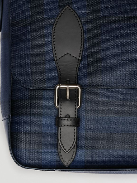 Medium Leather Trim London Check Messenger Bag in Navy/black - Men | Burberry Singapore - cell image 1