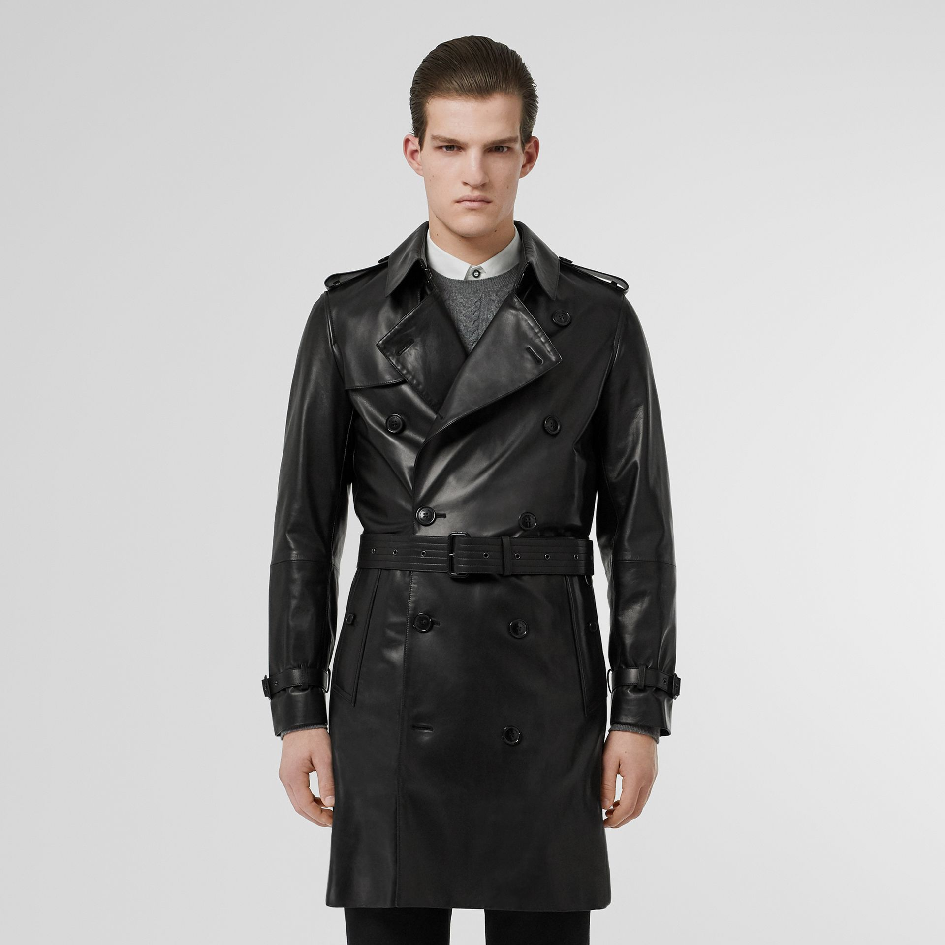 Lambskin Trench Coat in Black - Men | Burberry Australia - gallery image 6