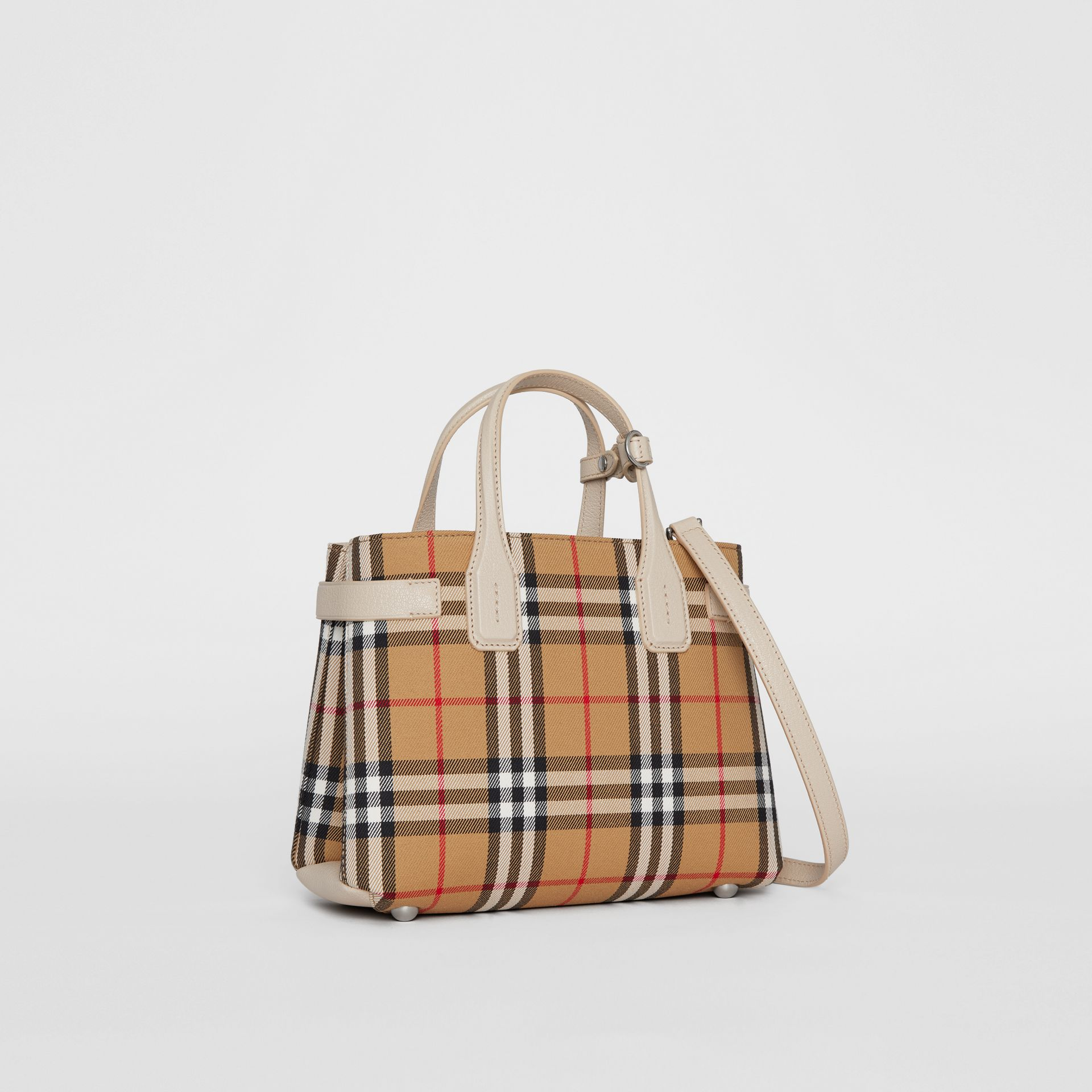 The Small Banner in Vintage Check and Leather in Limestone - Women | Burberry Hong Kong S.A.R - gallery image 0