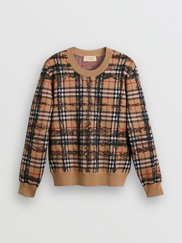 Scribble Check Merino Wool Sweater in Camel/black - Women | Burberry - cell image 3
