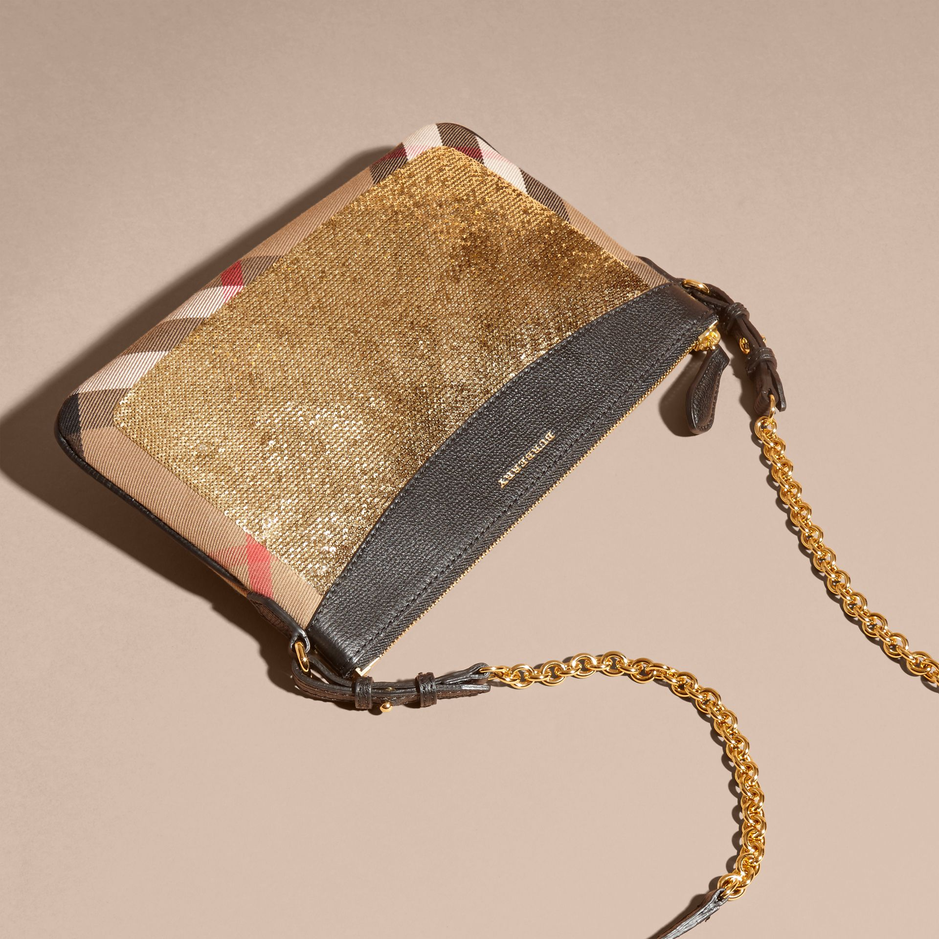 Leather, Sequin and Check Clutch Bag in Gold/black - gallery image 5
