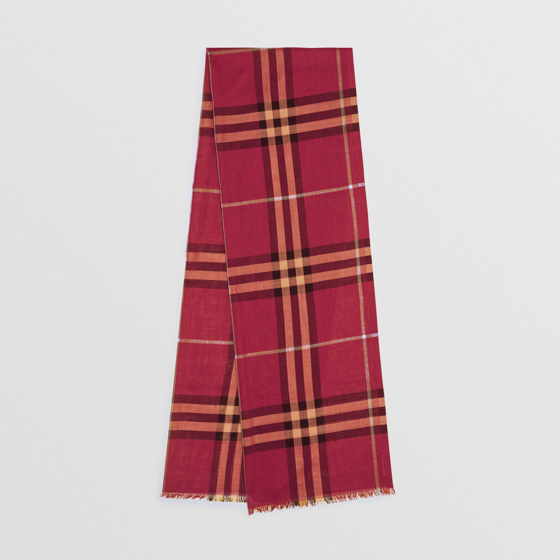 Lightweight Check Wool and Silk Scarf in Damson Pink | Burberry - gallery image 0