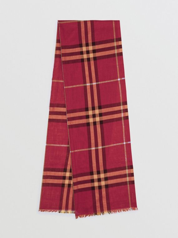 Lightweight Check Wool and Silk Scarf in Damson Pink