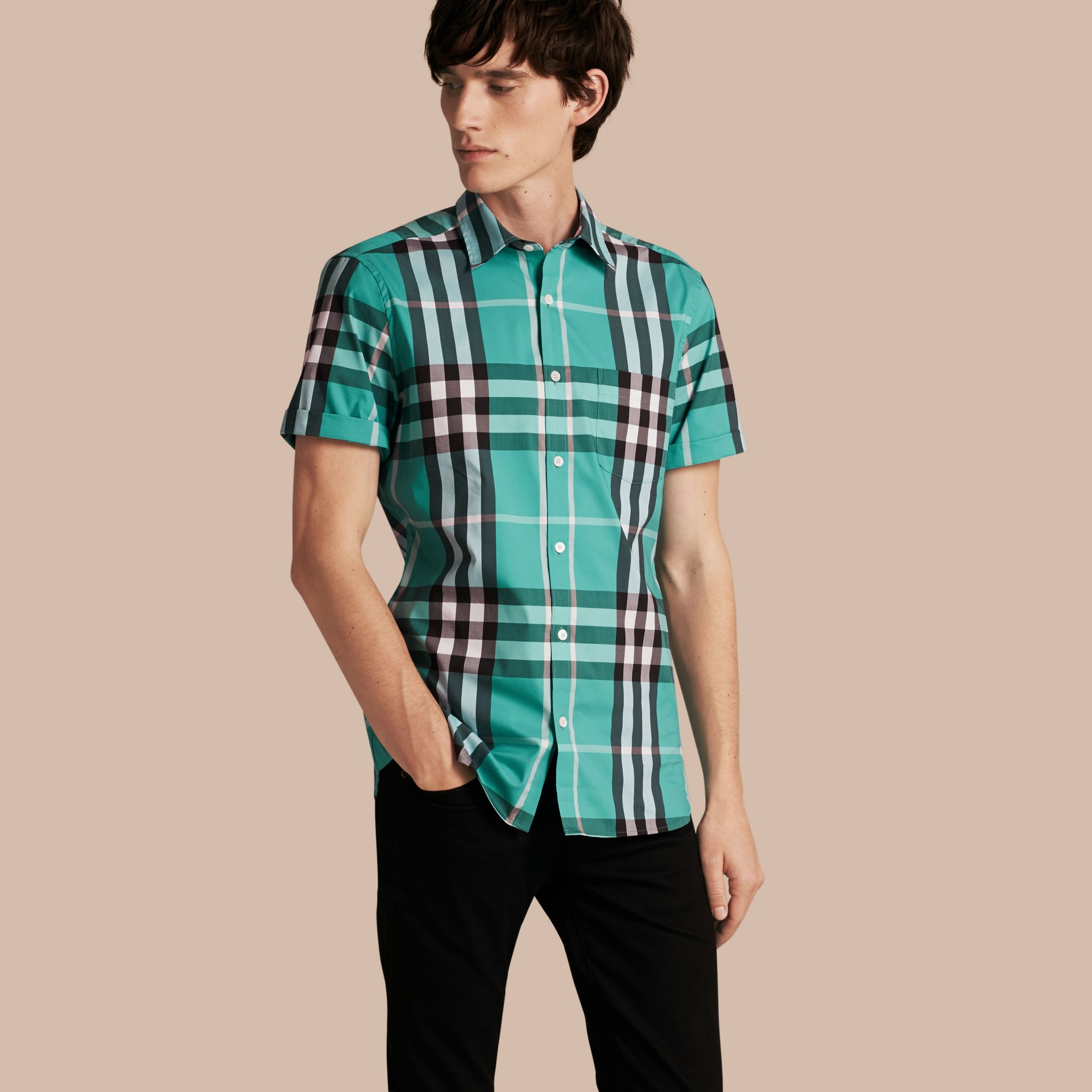 Short-sleeved Check Stretch Cotton Shirt in Cyan Green - Men | Burberry Canada - gallery image 1