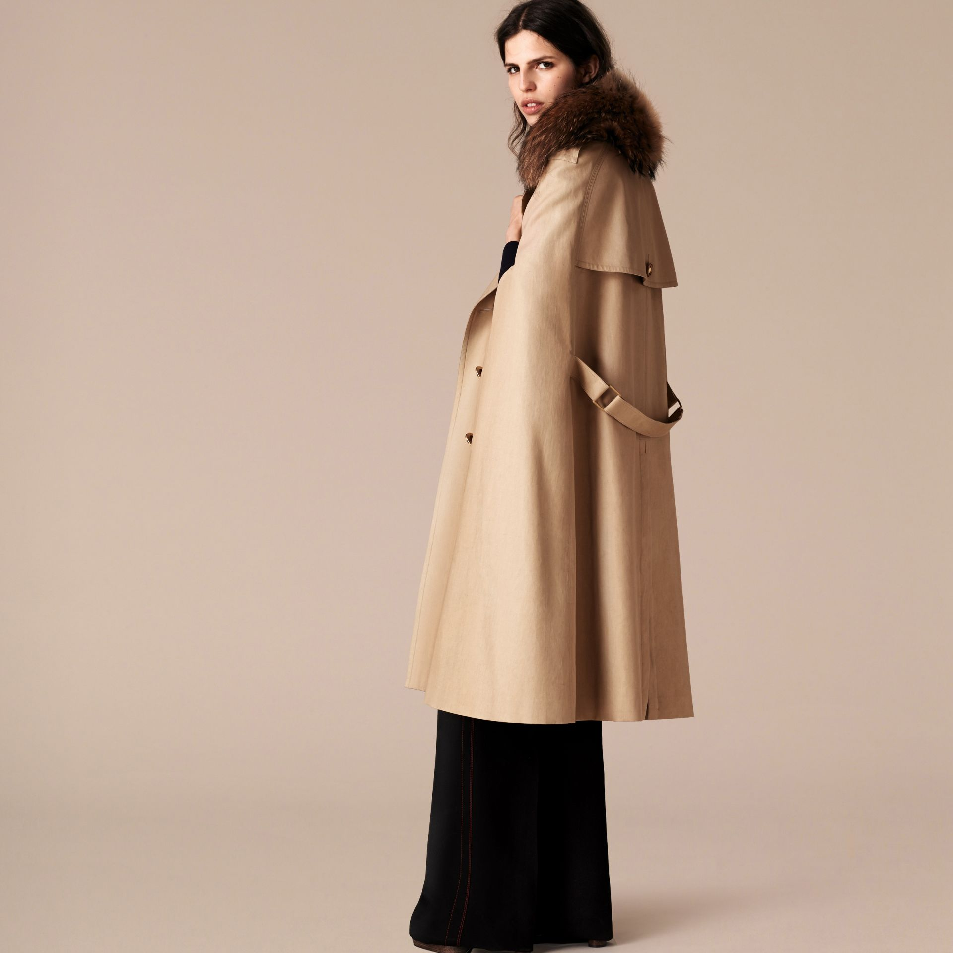 Honey Raccoon Collar Cotton Trench Cape - gallery image 3