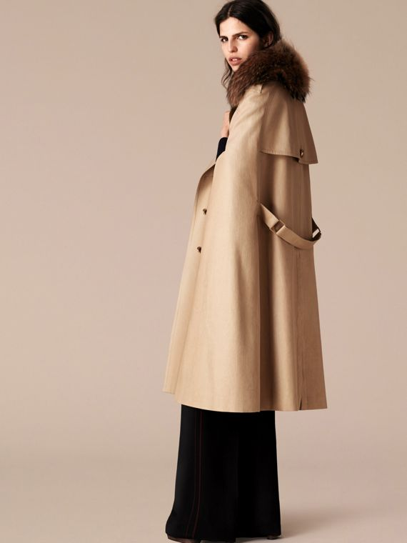 Honey Raccoon Collar Cotton Trench Cape - cell image 2