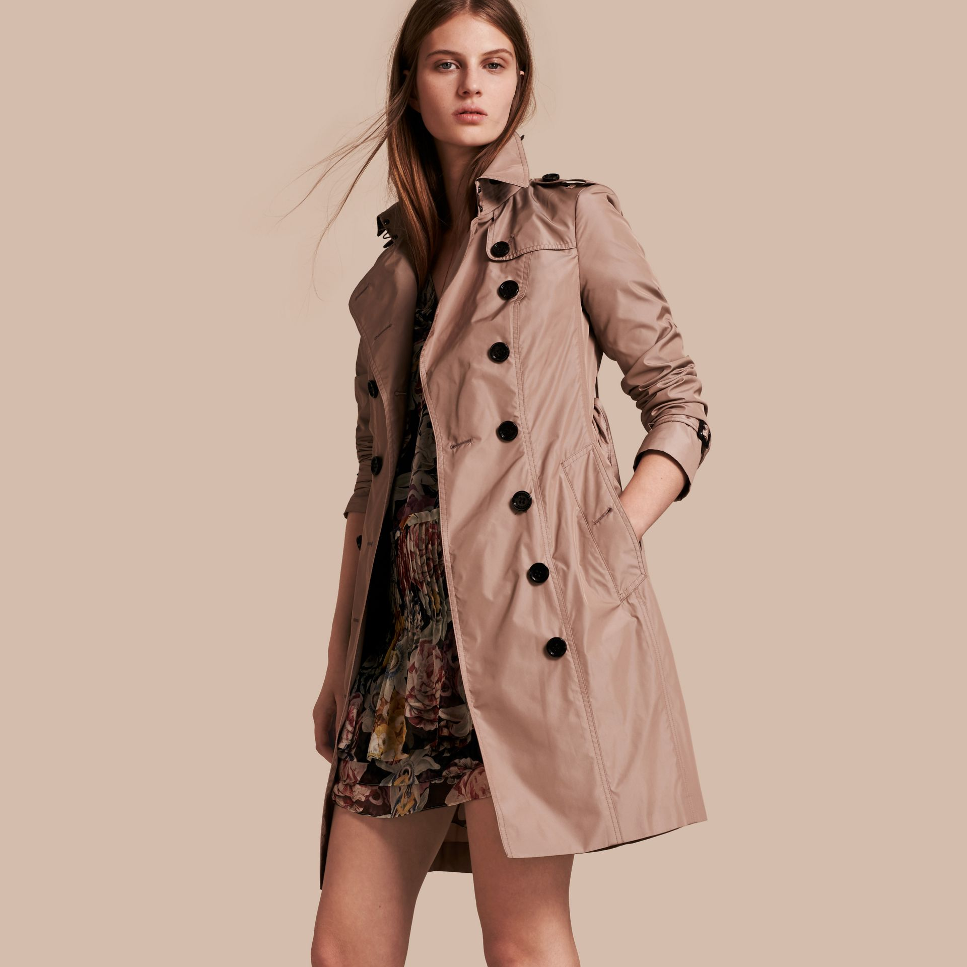 Nude Long Technical Trench Coat - gallery image 1
