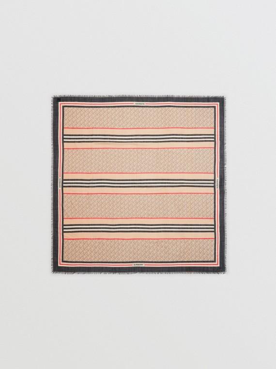 Großer Karreeschal aus Wolle und Seide mit Monogrammmuster und Streifendetail (Vintage-beige)
