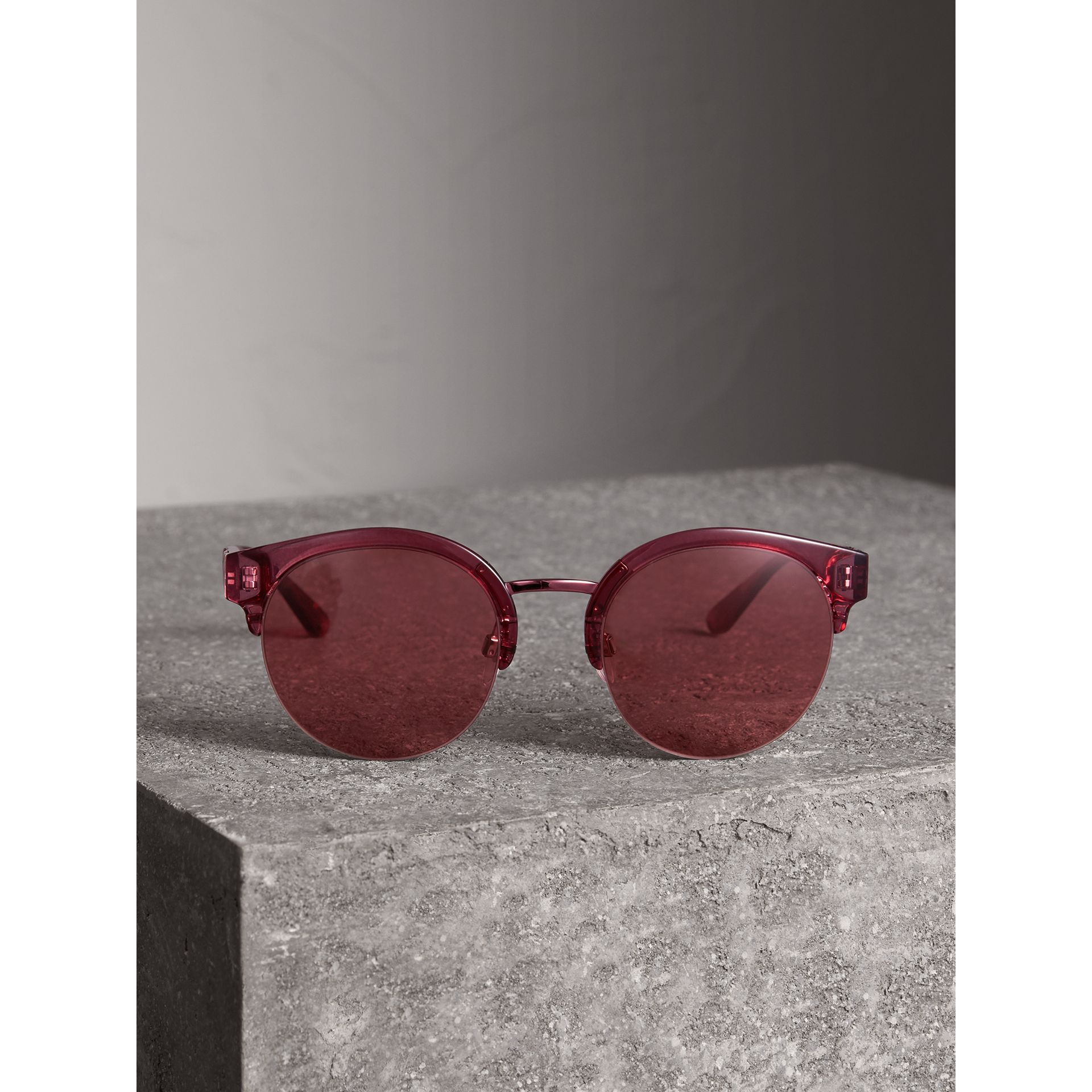 Check Detail Round Half-frame Sunglasses in Burgundy - Women | Burberry - gallery image 3