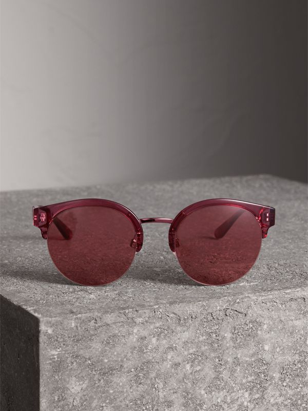 Check Detail Round Half-frame Sunglasses in Burgundy - Women | Burberry Canada - cell image 3