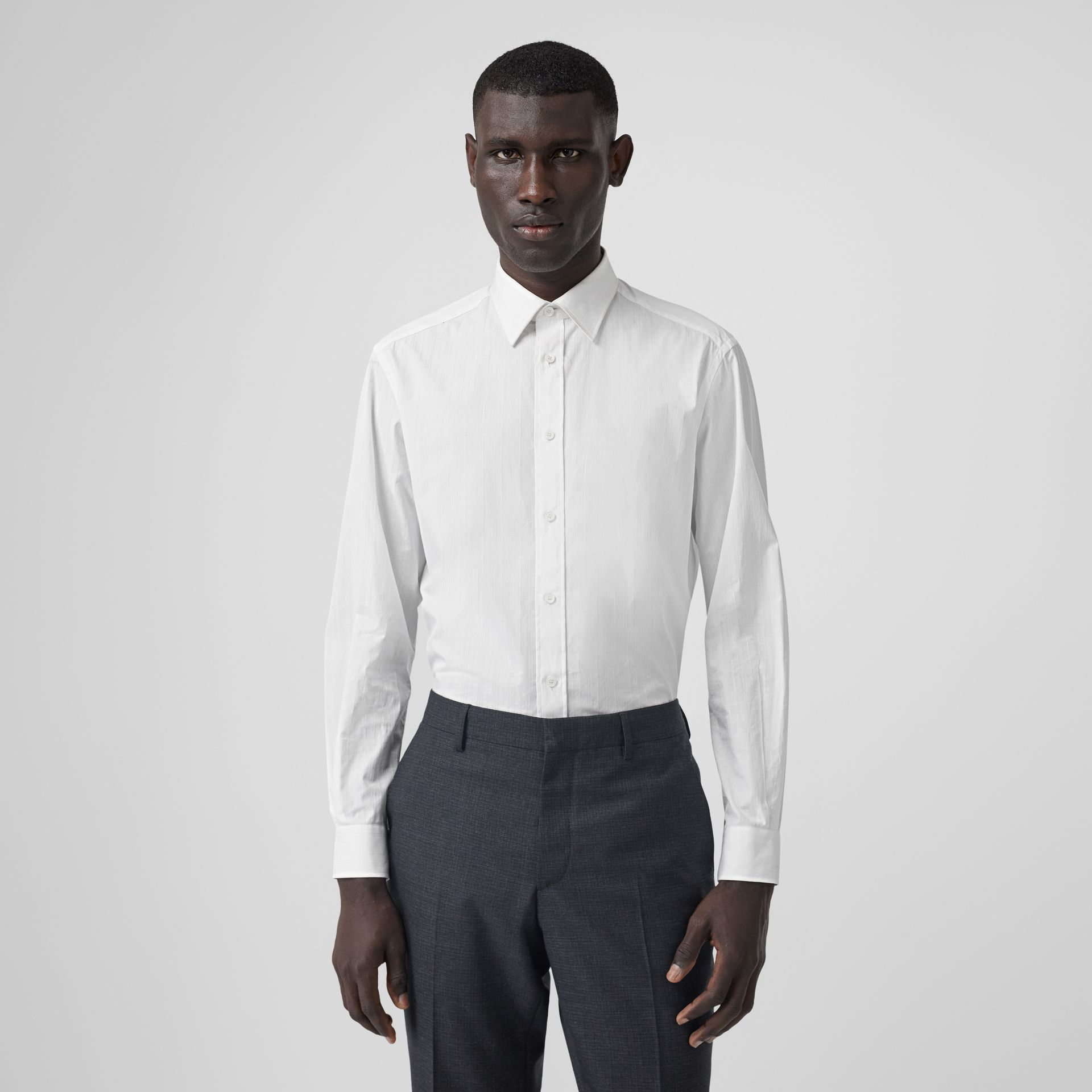 Classic Fit Striped Cotton Shirt in White - Men | Burberry - gallery image 4