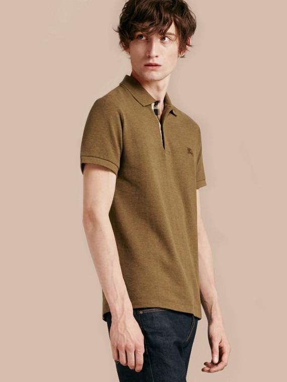 Check Placket Cotton Piqué Polo Shirt Military Green Melange