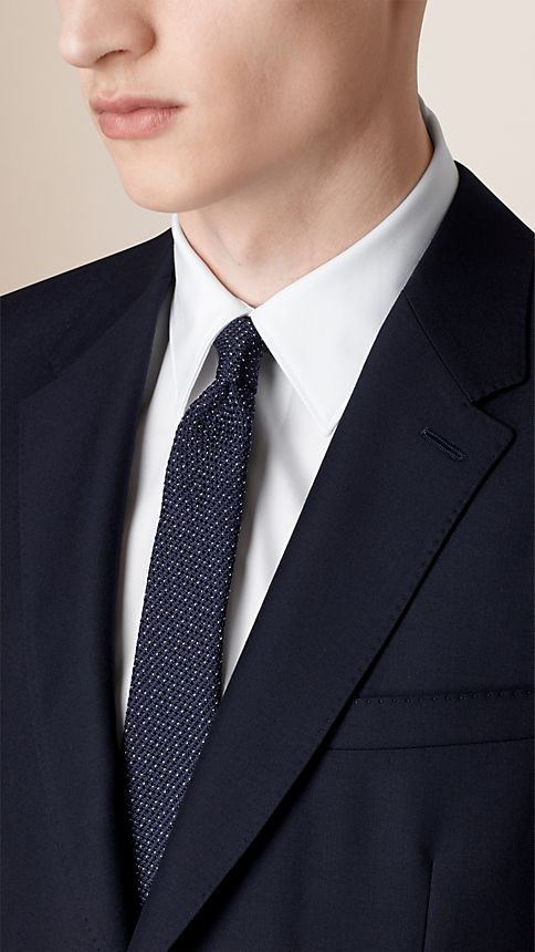 Navy Classic Fit Wool Part-canvas Suit - Image 3