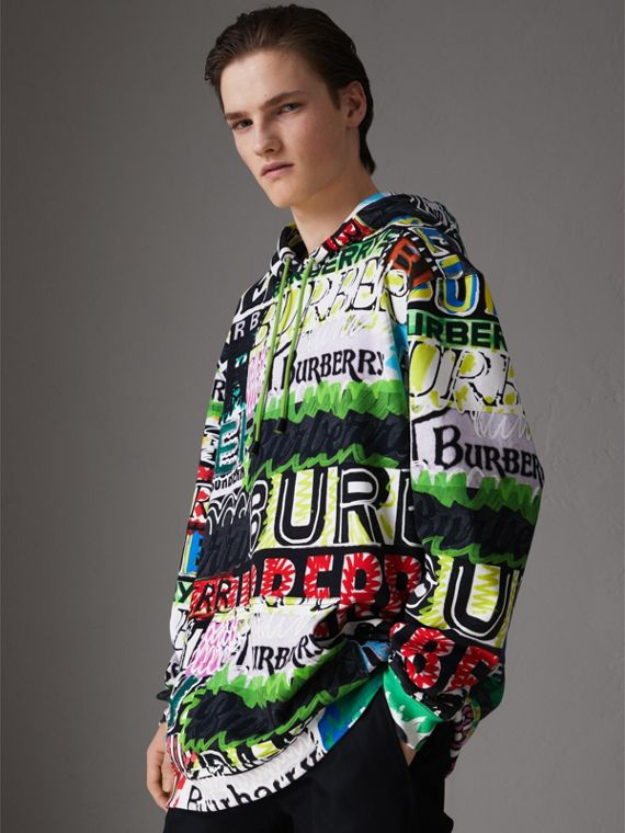 Oversized Logo Print Cotton Hoodie in Bright Green
