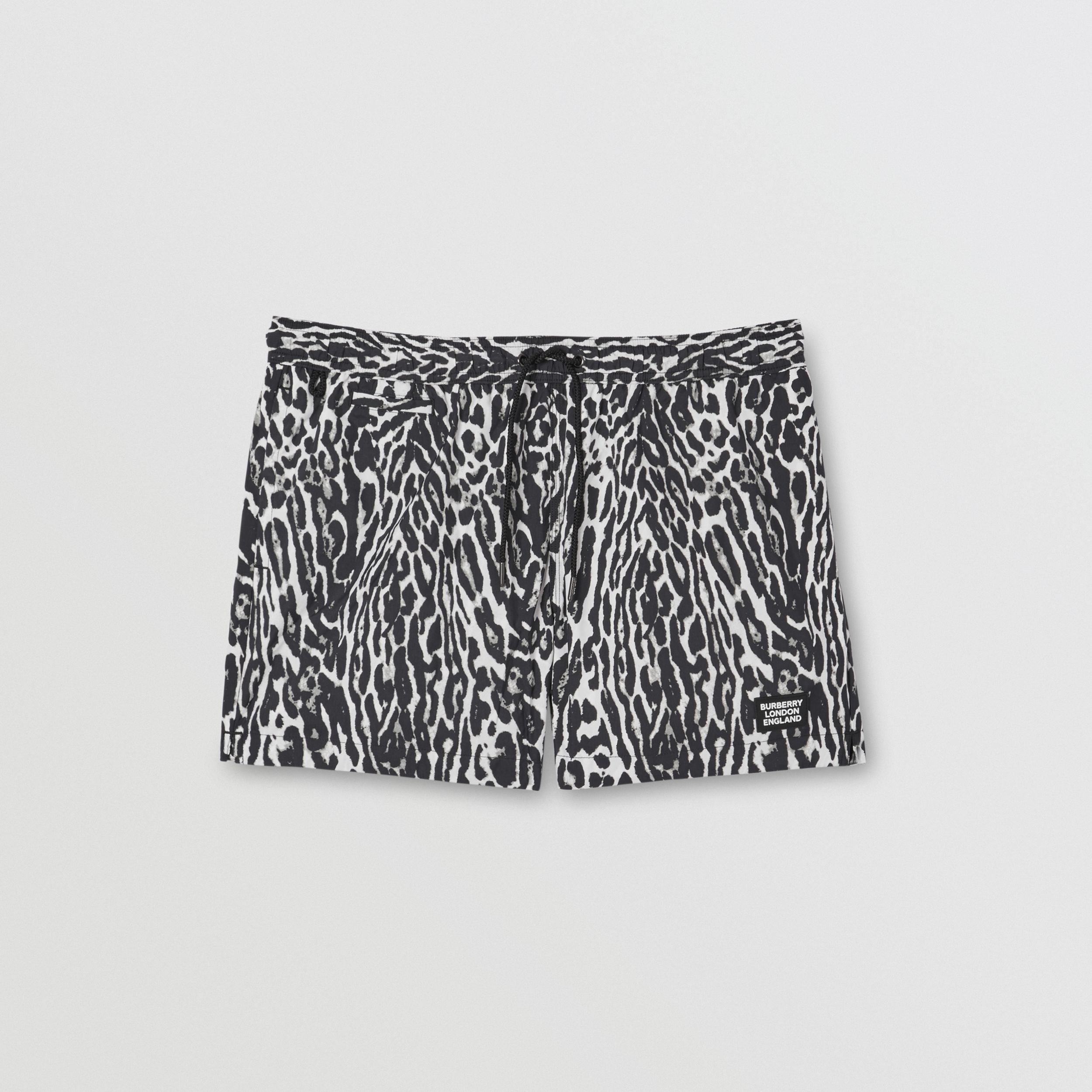 Leopard Print Drawcord Swim Shorts in Black - Men | Burberry - 3