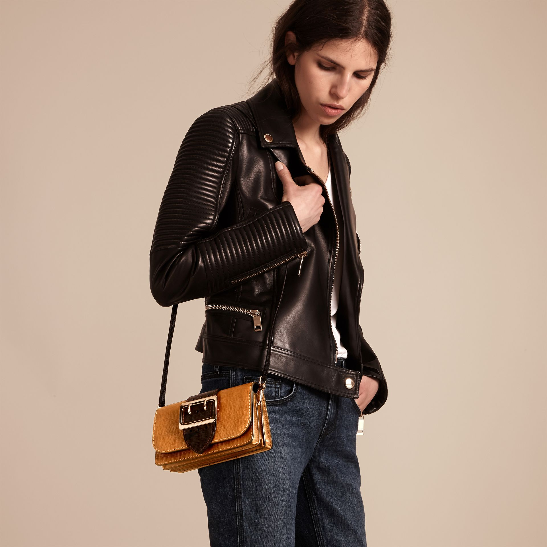 Tan / black The Small Buckle Bag in Grainy Leather - gallery image 3