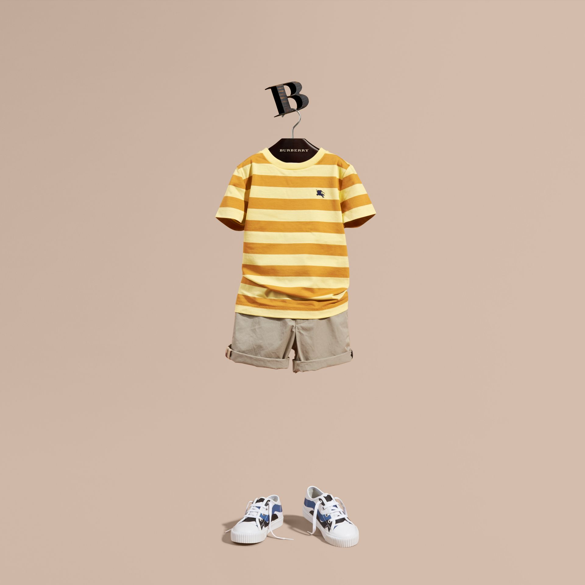 Striped Cotton T-shirt in Pale Yellow/ochre Yellow - Boy | Burberry Hong Kong - gallery image 1