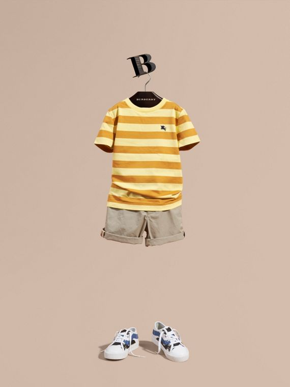 Striped Cotton T-shirt in Pale Yellow/ochre Yellow