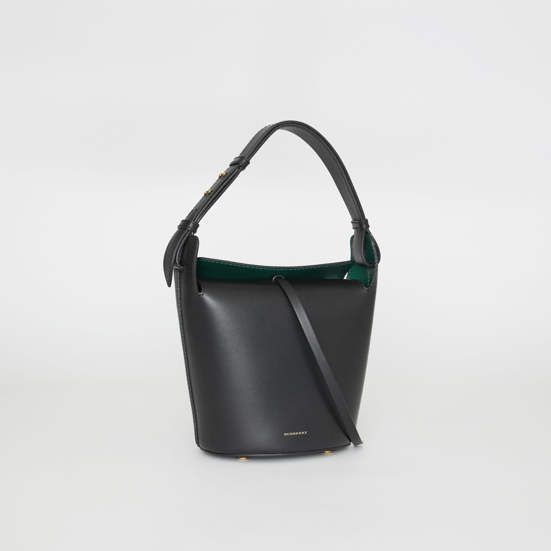 The Small Leather Bucket Bag in Black - Women | Burberry Canada - gallery image 6