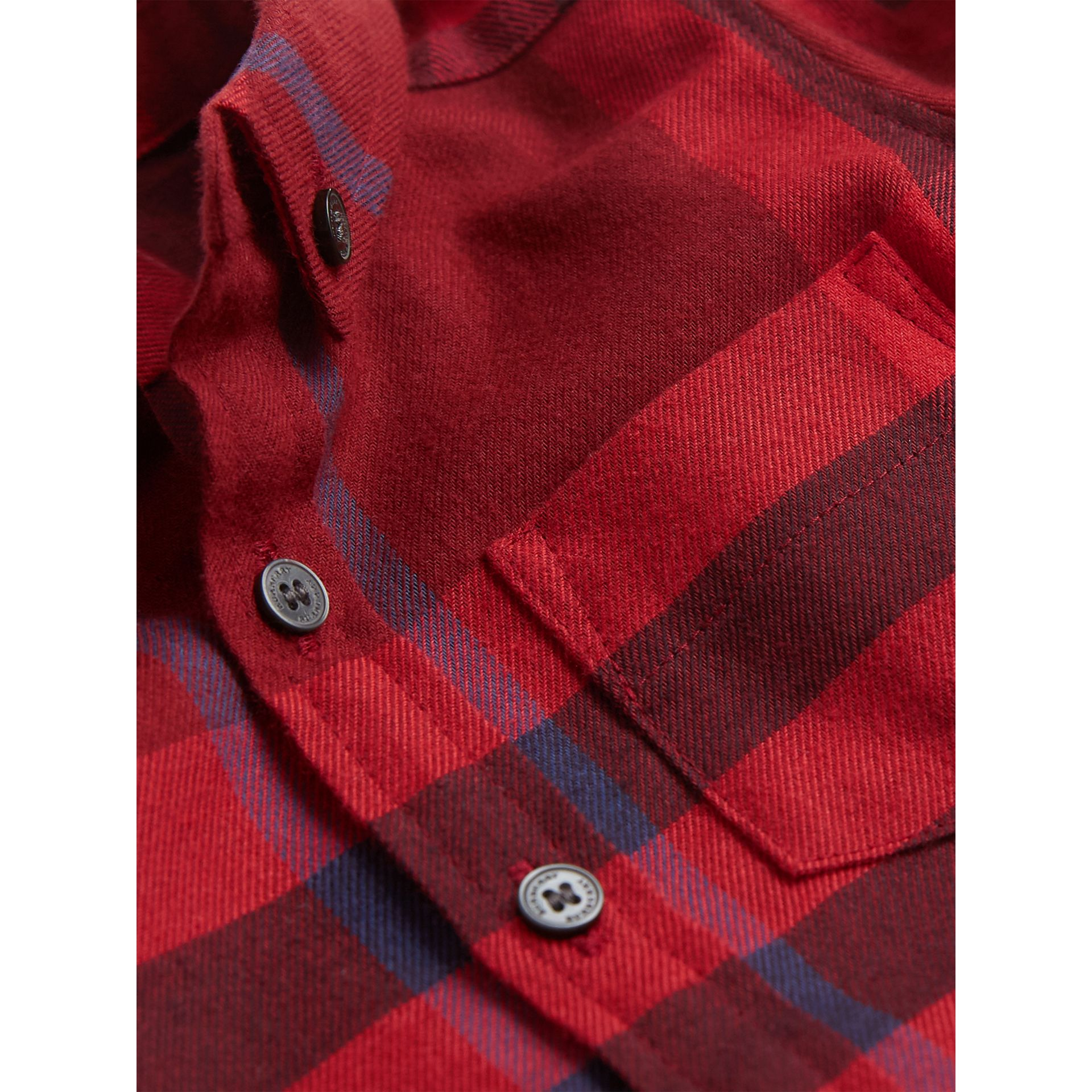 Check Cotton Flannel Shirt in Parade Red - Boy | Burberry - gallery image 1
