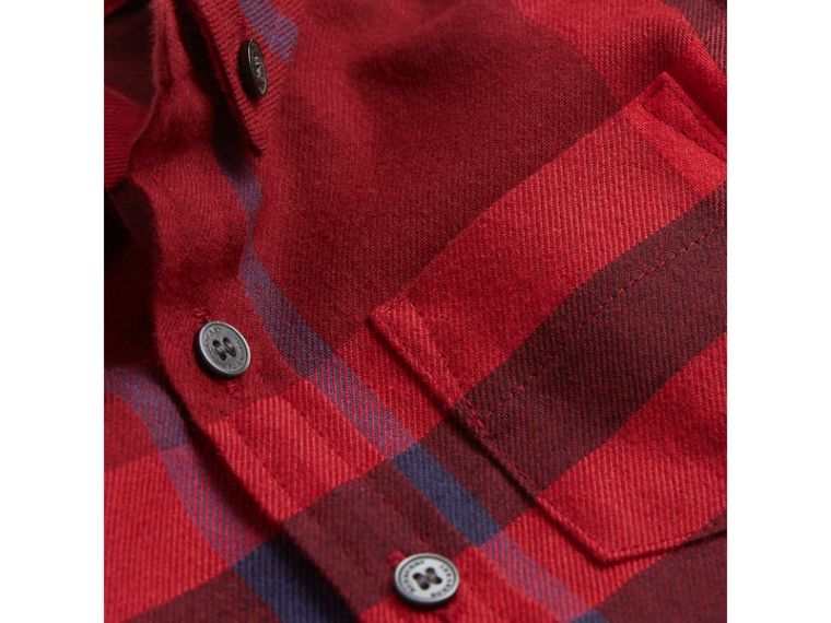 Check Cotton Flannel Shirt in Parade Red - Boy | Burberry - cell image 1