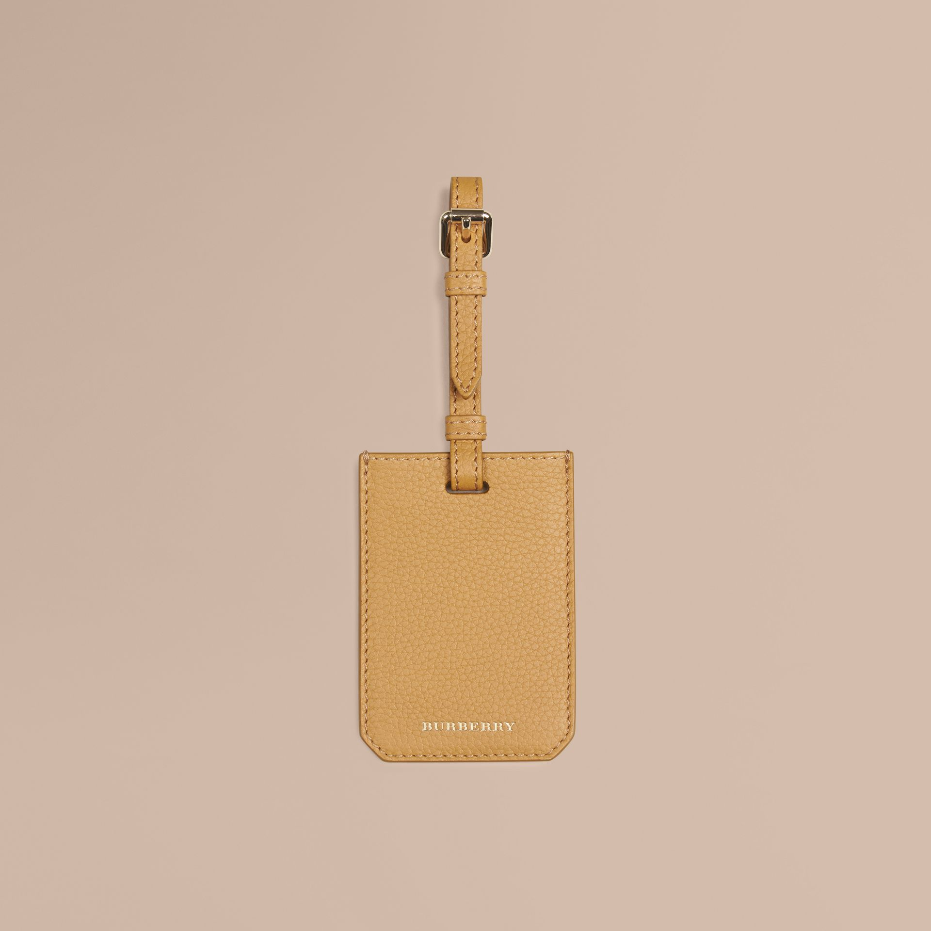 Grainy Leather Luggage Tag in Ochre Yellow - gallery image 1
