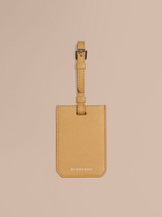 Grainy Leather Luggage Tag in Ochre Yellow