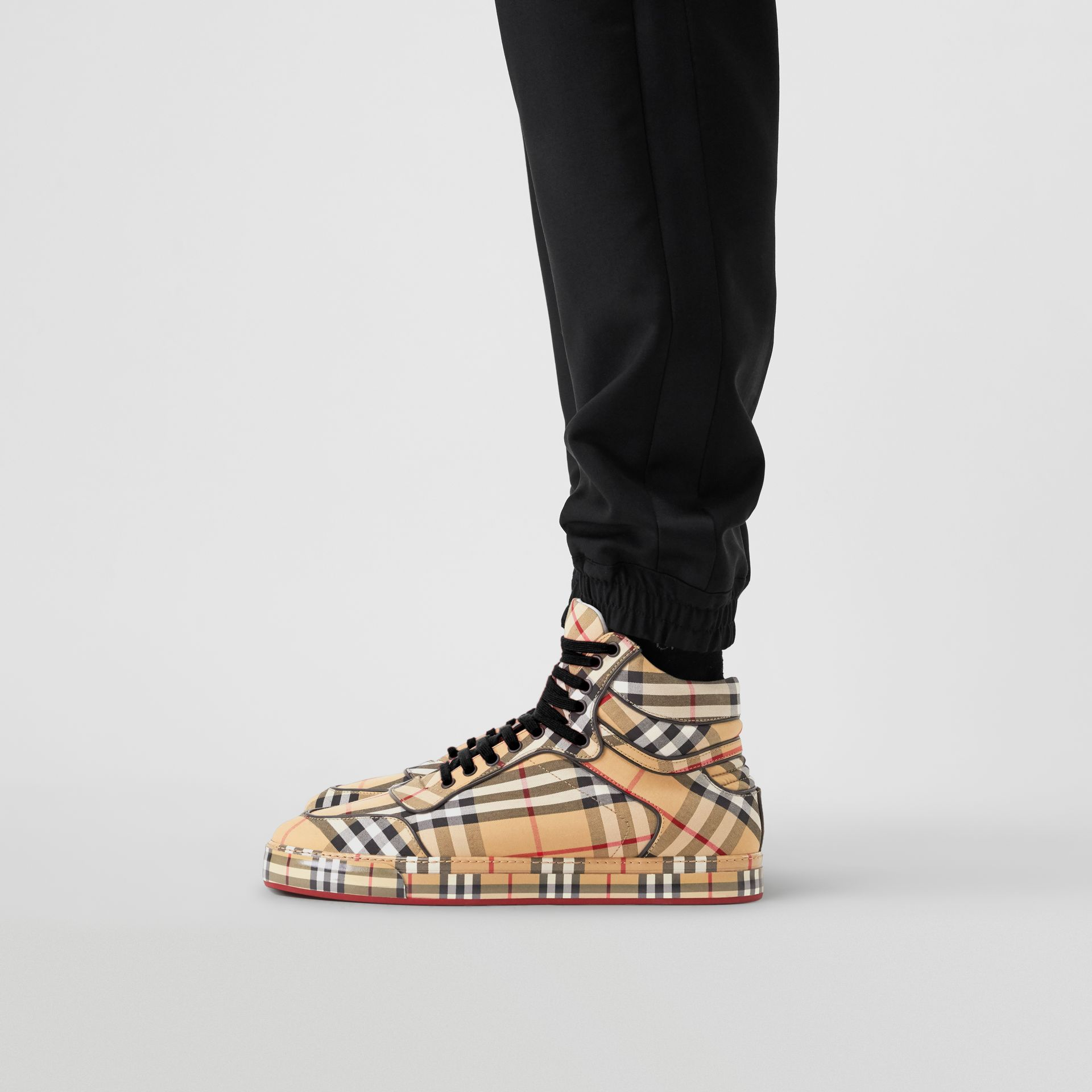 Vintage Check Cotton High-top Sneakers in Antique Yellow - Men | Burberry Singapore - gallery image 2