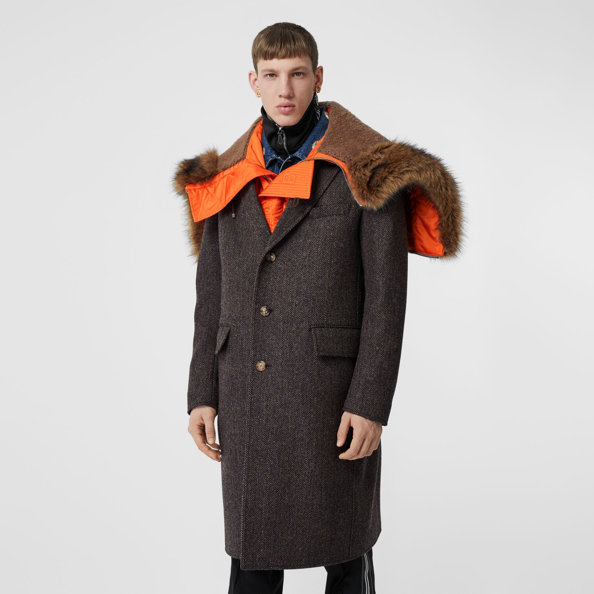 Detachable Hood Herringbone Wool Tailored Coat in Brown - Men | Burberry - gallery image 5