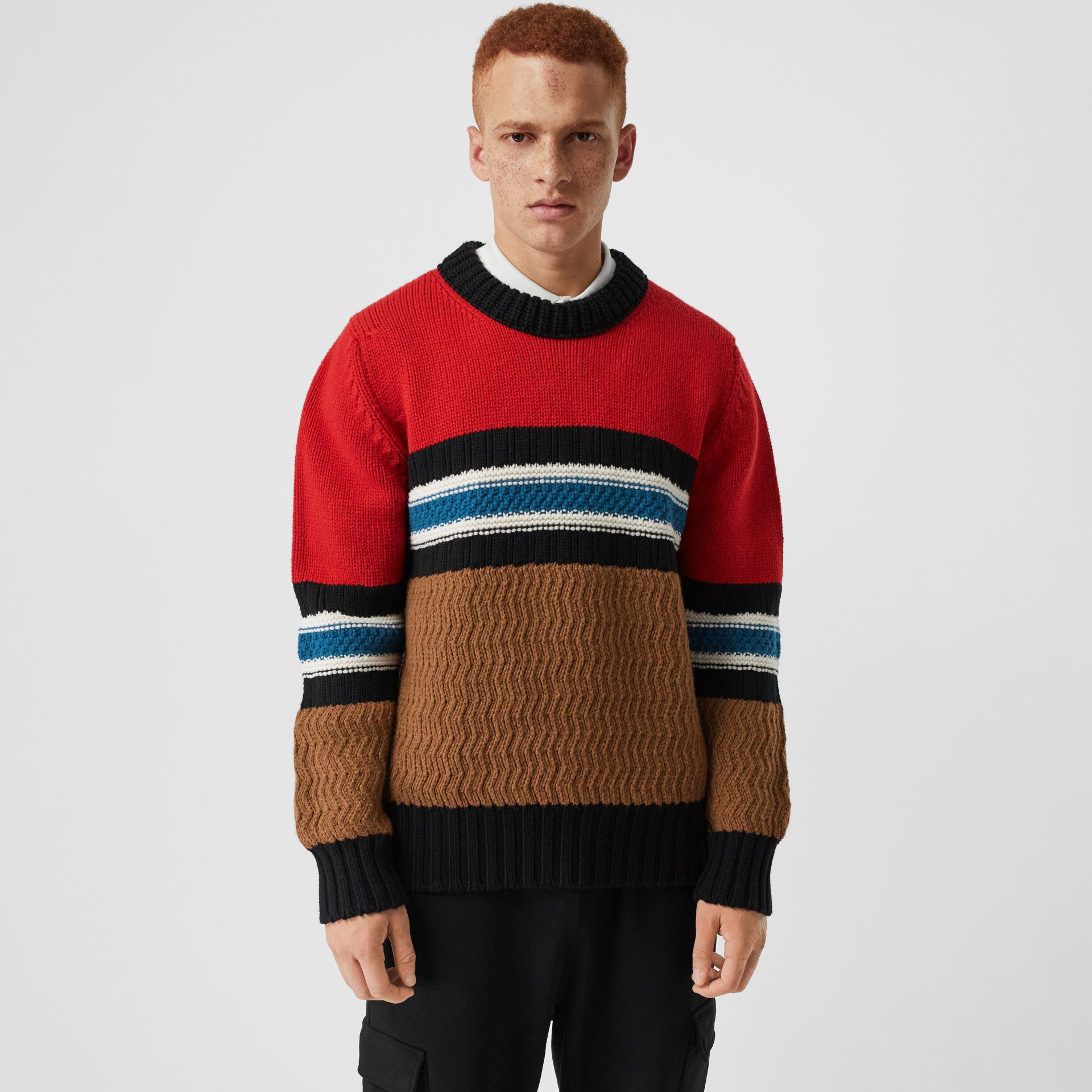 Striped Wool Cashmere Sweater in Bright Red - Men | Burberry Australia - gallery image 4