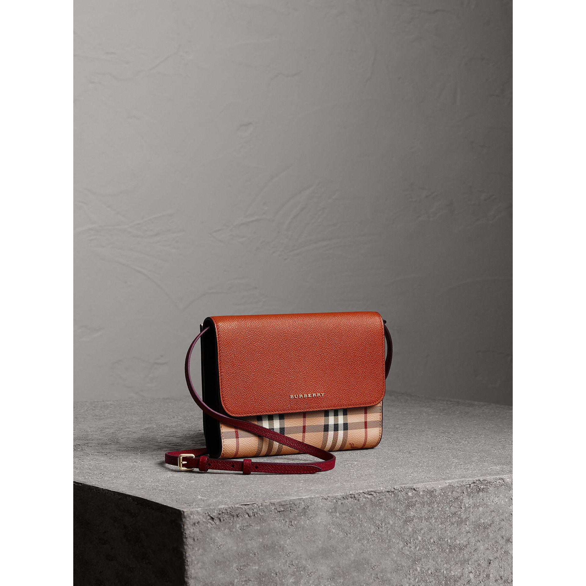 Haymarket Check and Leather Crossbody Bag in Bright Toffee/multi - Women | Burberry Canada - gallery image 0