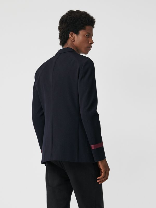 Crest Detail Wool Blend Club Blazer in Navy - Men | Burberry Hong Kong - cell image 2