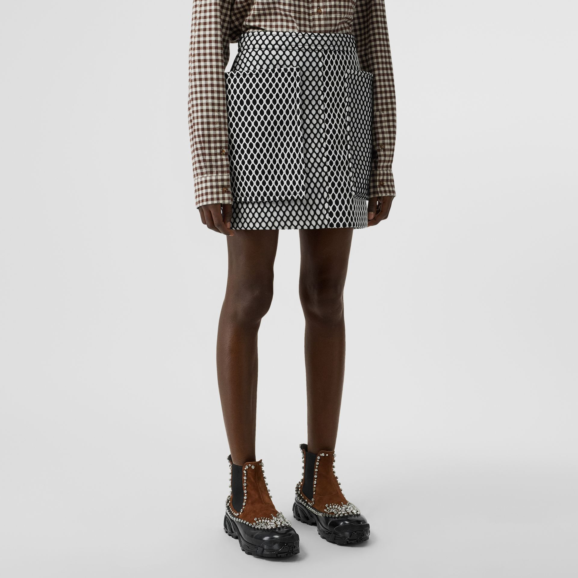 Pocket Detail Mesh and Neoprene Mini Skirt in Black - Women | Burberry - gallery image 4